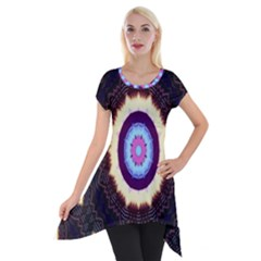 Mandala Art Design Pattern Short Sleeve Side Drop Tunic