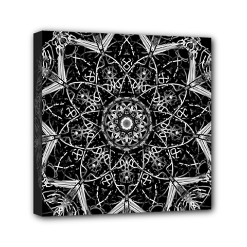 Mandala Psychedelic Neon Mini Canvas 6  X 6