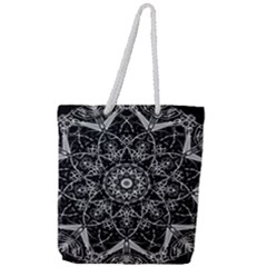 Mandala Psychedelic Neon Full Print Rope Handle Tote (large) by Celenk