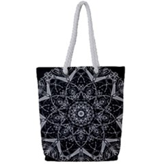 Mandala Psychedelic Neon Full Print Rope Handle Bag (small) by Celenk
