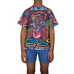 Ethnic Africa Art Work Drawing Kids  Short Sleeve Swimwear