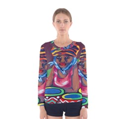 Ethnic Africa Art Work Drawing Women s Long Sleeve Tee by Celenk
