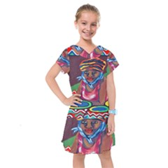 Ethnic Africa Art Work Drawing Kids  Drop Waist Dress by Celenk
