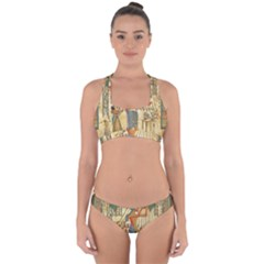 Egyptian Man Sun God Ra Amun Cross Back Hipster Bikini Set by Celenk