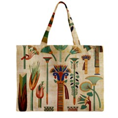 Egyptian Paper Papyrus Hieroglyphs Zipper Mini Tote Bag by Celenk