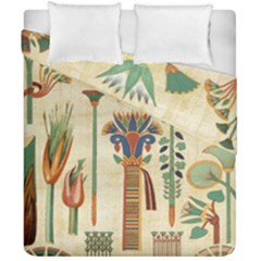 Egyptian Paper Papyrus Hieroglyphs Duvet Cover Double Side (california King Size) by Celenk