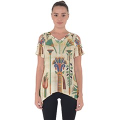 Egyptian Paper Papyrus Hieroglyphs Cut Out Side Drop Tee