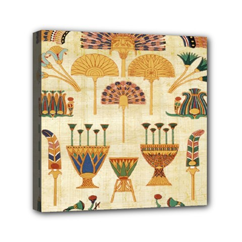 Egyptian Paper Papyrus Hieroglyphs Mini Canvas 6  X 6  by Celenk