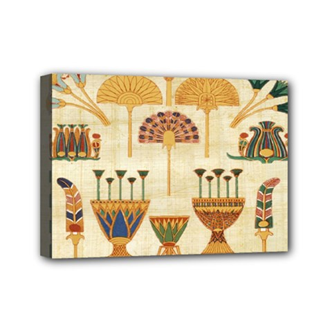 Egyptian Paper Papyrus Hieroglyphs Mini Canvas 7  X 5  by Celenk