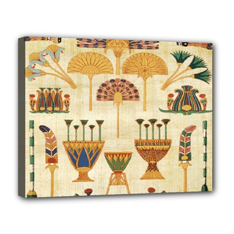 Egyptian Paper Papyrus Hieroglyphs Canvas 14  X 11  by Celenk