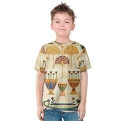 Egyptian Paper Papyrus Hieroglyphs Kids  Cotton Tee by Celenk