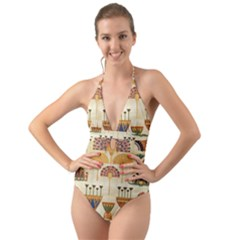 Egyptian Paper Papyrus Hieroglyphs Halter Cut-out One Piece Swimsuit