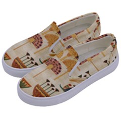 Egyptian Paper Papyrus Hieroglyphs Kids  Canvas Slip Ons by Celenk