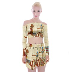 Egyptian Tutunkhamun Pharaoh Design Off Shoulder Top With Mini Skirt Set by Celenk
