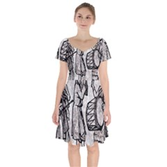 Man Ethic African People Collage Short Sleeve Bardot Dress