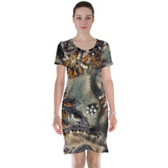 Texture Textile Beads Beading Short Sleeve Nightdress by Celenk