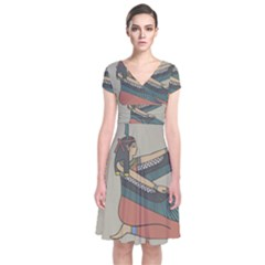 Egyptian Woman Wings Design Short Sleeve Front Wrap Dress by Celenk