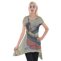 Egyptian Woman Wings Design Short Sleeve Side Drop Tunic by Celenk