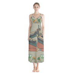Egyptian Woman Wings Design Button Up Chiffon Maxi Dress by Celenk