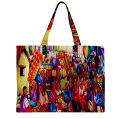 Guatemala Art Painting Naive Zipper Mini Tote Bag by Celenk