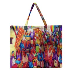 Guatemala Art Painting Naive Zipper Large Tote Bag