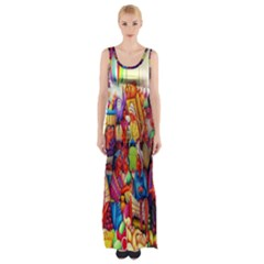 Guatemala Art Painting Naive Maxi Thigh Split Dress by Celenk