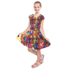 Guatemala Art Painting Naive Kids  Short Sleeve Dress by Celenk