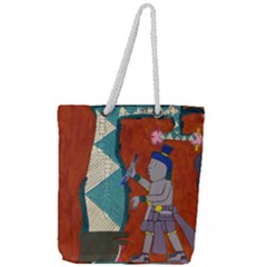 Mexico Puebla Mural Ethnic Aztec Full Print Rope Handle Tote (large)