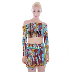 Mexico Puebla Mural Ethnic Aztec Off Shoulder Top With Mini Skirt Set