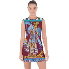 Mexico Puebla Mural Ethnic Aztec Lace Up Front Bodycon Dress