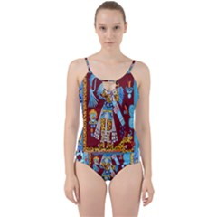 Mexico Puebla Mural Ethnic Aztec Cut Out Top Tankini Set by Celenk