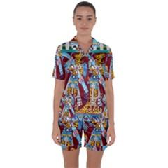 Mexico Puebla Mural Ethnic Aztec Satin Short Sleeve Pyjamas Set by Celenk