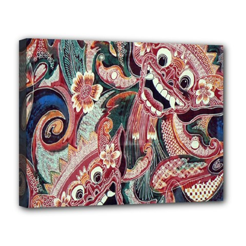 Indonesia Bali Batik Fabric Canvas 14  X 11  by Celenk