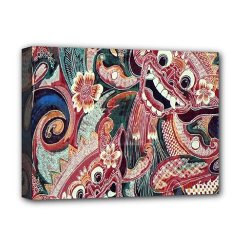 Indonesia Bali Batik Fabric Deluxe Canvas 16  X 12   by Celenk