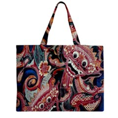 Indonesia Bali Batik Fabric Zipper Medium Tote Bag by Celenk