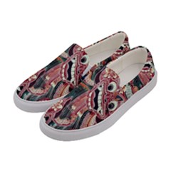 Indonesia Bali Batik Fabric Women s Canvas Slip Ons by Celenk