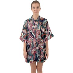 Indonesia Bali Batik Fabric Quarter Sleeve Kimono Robe by Celenk