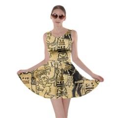 Mystery Pattern Pyramid Peru Aztec Font Art Drawing Illustration Design Text Mexico History Indian Skater Dress