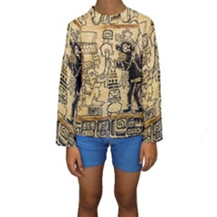 Mystery Pattern Pyramid Peru Aztec Font Art Drawing Illustration Design Text Mexico History Indian Kids  Long Sleeve Swimwear