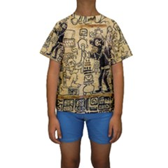 Mystery Pattern Pyramid Peru Aztec Font Art Drawing Illustration Design Text Mexico History Indian Kids  Short Sleeve Swimwear