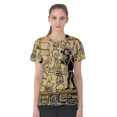 Mystery Pattern Pyramid Peru Aztec Font Art Drawing Illustration Design Text Mexico History Indian Women s Cotton Tee
