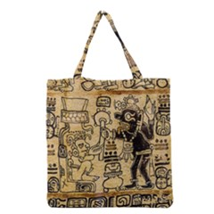 Mystery Pattern Pyramid Peru Aztec Font Art Drawing Illustration Design Text Mexico History Indian Grocery Tote Bag