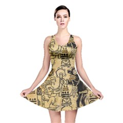 Mystery Pattern Pyramid Peru Aztec Font Art Drawing Illustration Design Text Mexico History Indian Reversible Skater Dress