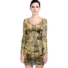 Mystery Pattern Pyramid Peru Aztec Font Art Drawing Illustration Design Text Mexico History Indian Long Sleeve Bodycon Dress