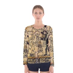Mystery Pattern Pyramid Peru Aztec Font Art Drawing Illustration Design Text Mexico History Indian Women s Long Sleeve Tee