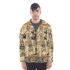 Mystery Pattern Pyramid Peru Aztec Font Art Drawing Illustration Design Text Mexico History Indian Hooded Wind Breaker (Men)