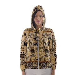 Mystery Pattern Pyramid Peru Aztec Font Art Drawing Illustration Design Text Mexico History Indian Hooded Wind Breaker (Women)