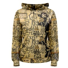 Mystery Pattern Pyramid Peru Aztec Font Art Drawing Illustration Design Text Mexico History Indian Women s Pullover Hoodie