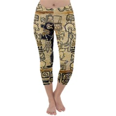 Mystery Pattern Pyramid Peru Aztec Font Art Drawing Illustration Design Text Mexico History Indian Capri Winter Leggings
