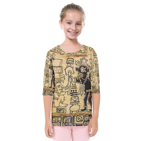 Mystery Pattern Pyramid Peru Aztec Font Art Drawing Illustration Design Text Mexico History Indian Kids  Quarter Sleeve Raglan Tee by Celenk